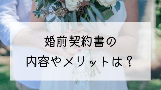 婚前契約書の内容